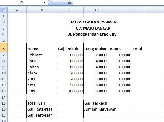 Cara Menggunakan Rumus Microsoft Excel 2007 (sum, average ...