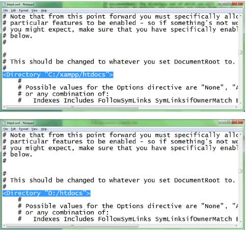 """... dan """"Start"""" kembali. Sekarang semua file PHP harus disimpan di D"""