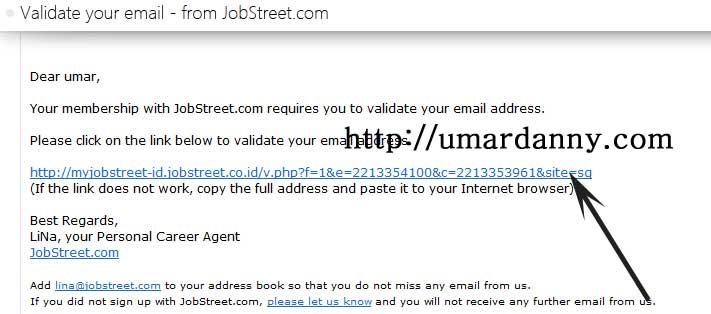 membuka dan klik email validasi jobstreet