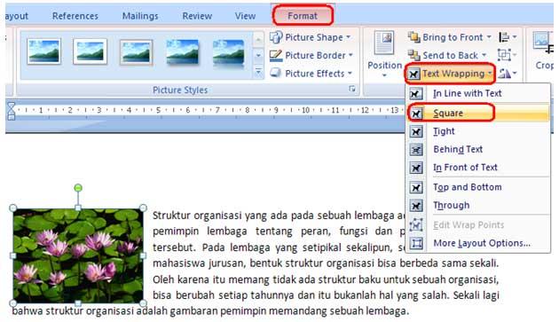 gambar format text wrapping