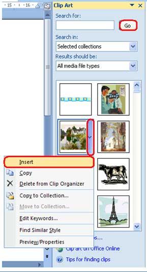 gambar langkah insert clip art