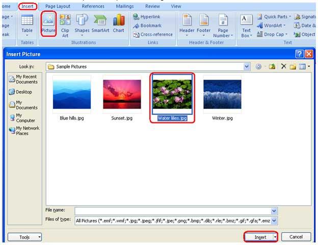 gambar langkah ke 2 insert picture