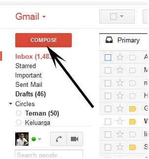 pilih compose untuk mengirim email ke pihak lain
