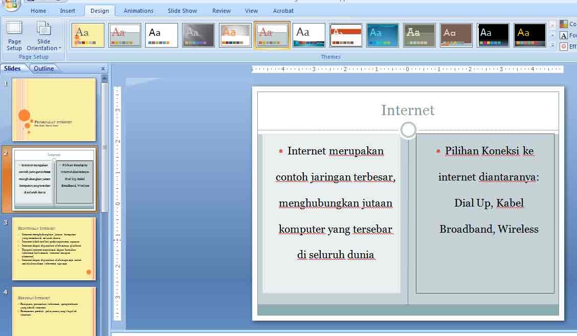 hasil mengganti thema slide kedua