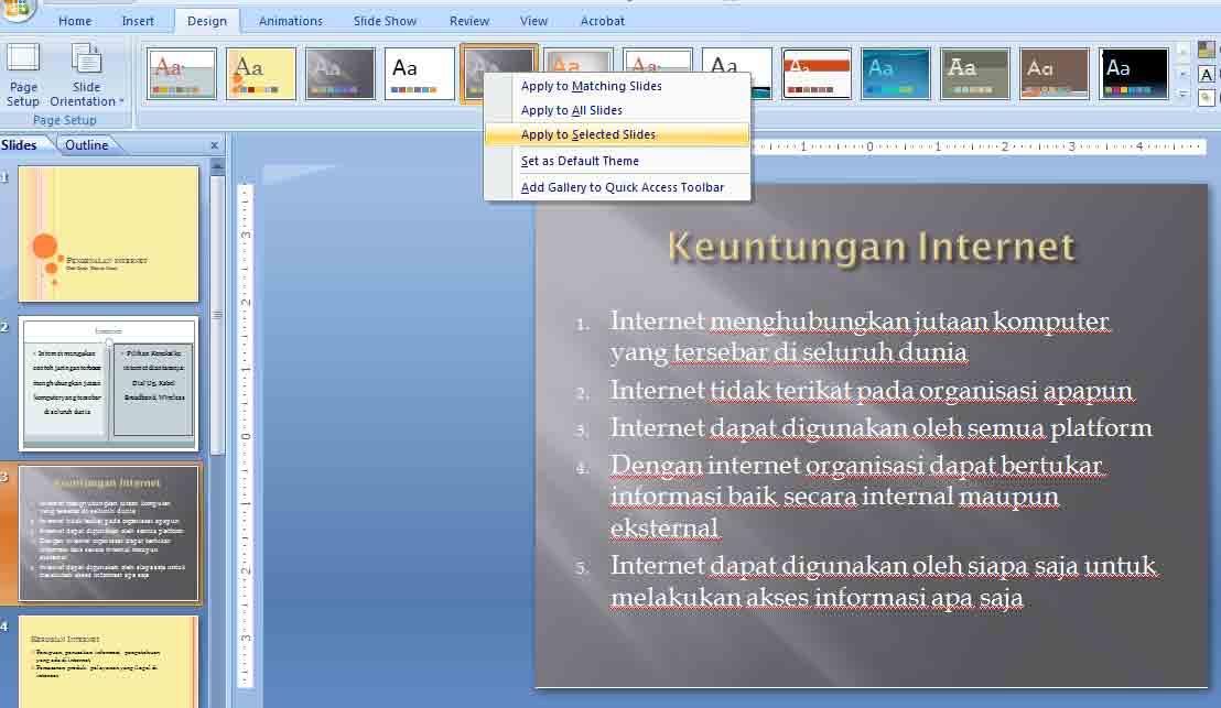 mengganti thema slide ketiga