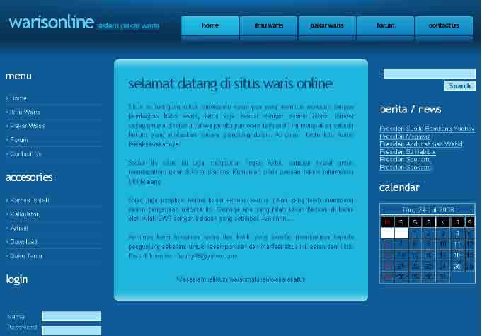 tampilan awal sistem pakar waris berbasis web