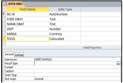 contoh pembuatan tabel ms.access 2010