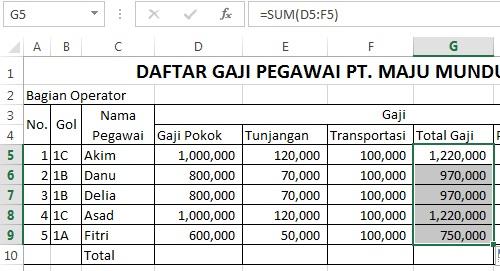 menghitung total gaji dengan vlookup