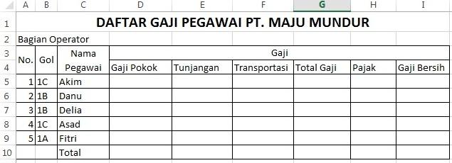 tabel sheet pertama