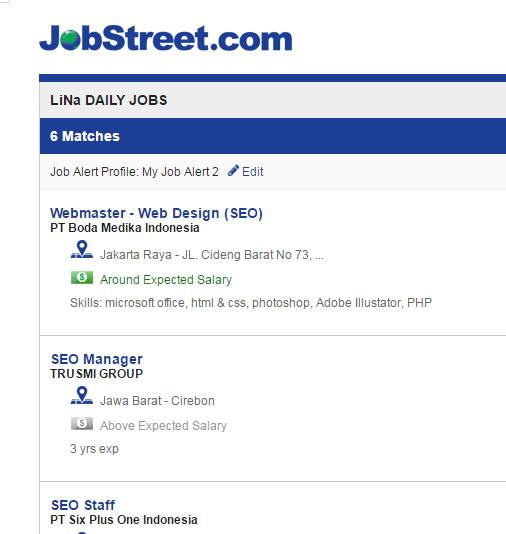 email pemberitahuan dari jobstreet