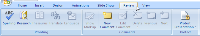tab review PowerPoint