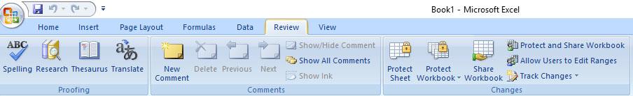 tab menu review excel