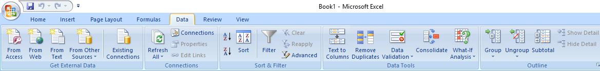 tab menu data excel 2007